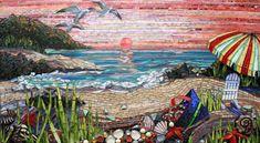 Beach Glass Mosaic Kitchen Backsplash residential kitchen California.