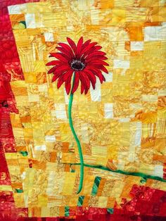 Gerbera daisy, pieced by Ute Renz on an improvisational background.  Photo by Maria's quilts