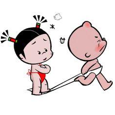 You aint going nowhere, sweetie! Love Cartoon Couple, Cute Love Cartoons, Cute Cartoon Characters, Cartoon Gifs, Gif Lindos, Bear Gif, Naughty Kids, Cute Baby Videos, Cute Love Gif