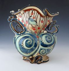 Wheel thrown, altered, pulled handles, and slip trailed. Glazed then fired to cone Dimensions: x x Sunflower Vase, Glass Candy, My Glass, Sell On Etsy, Clay Creations, Clay Art, Pottery Art, Ceramic Art, Fiber Art