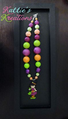 Child, Toddler, Girls Chunky Beaded Necklace - Witch Pendant. $22.00, via Etsy.