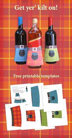 Burns Night Supper free paper bottle kilt! Download the templates now! #kilt #burns https://printablepaperproducts.com/bottle-kilt-tartan-wine-whisky/