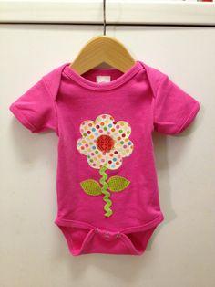 Baby girl onesie flower applique pink polka by ModernNecessities