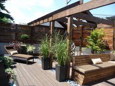 ipe decking, zen, outdoor space, outdoor living, roof deck, landscape, planters