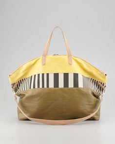 yellow and stripe tote - (the perfect weekend or mom bag without looking frumpy!)