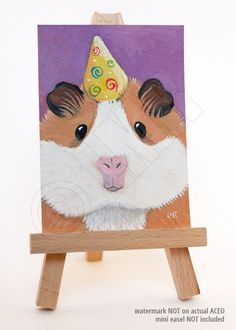 Original ACEO Party Guinea Pig CAVY ART by Lisa by lisamarieart- so cute! i totally want to paint my guinea pigs!
