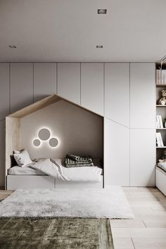 with Minimalist Kids bedroom with ample storage a quaint little bed and a window seating station. Kids Bedroom Designs, Kids Bedroom Sets, Kids Room Design, Cozy Bedroom, Bed Design, Modern Bedroom, Design Case, Bedroom Decor, Bedroom Furniture