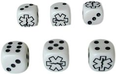 Custom & Unique {Standard Medium 16mm} 6 Ct Pack Set of 6 Sided [D6] Square Cube Shape Playing & Game Dice Made of Plastic w/ Rod of Asclepius Star of Life Design [White & Black]