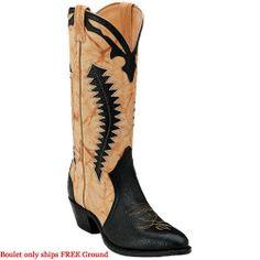 1869 Boulet Men's Cowboy Western Boots - Black/Butterscotch