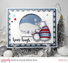Hi Everyone I am here with this very very cute card I created using the new October Stamp & Colour Kit - Polar Pals als. Boy Cards, Cute Cards, Color Kit, Colour, Christmas Cards, Christmas Ornaments, Xmas, Elizabeth Craft, Shaker Cards