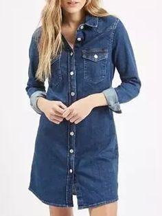 Blue Button Up Long Sleeve Denim Shirt Dress