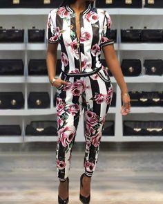 Print Short Sleeve Zipper Up Jacket Pants Set fashion fashion fashion fashion fashion fashion fashion Size fashion fashion fashion fashion fashion fashion fashion fashio. Set Fashion, Fashion Outfits, Fashion Blogs, Blazer Fashion, Hipster Fashion, Dope Outfits, Fashion Quotes, Fashion 2018, Modest Fashion