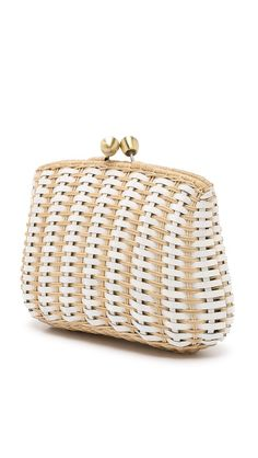 Serpui Marie white leather and wicker woven clutch. I can't stop clicking back to it!