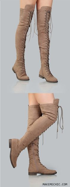 Thigh High Suede Combat Boots TAUPE