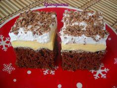 Just cooking!: Prăjitură cu cremă de vanilie și spumă de albuș Just Cooking, Tiramisu, Cheesecake, Muffin, Sweets, Homemade, Breakfast, Ethnic Recipes, Desserts