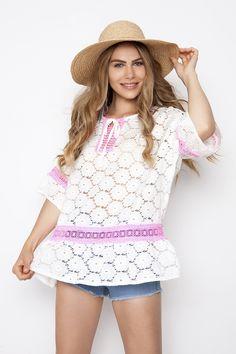 One size δαντελωτή μπλούζα με χαμόγελο λαιμόκοψη και κορδόνι που δένει  φίογκο 9cb9099ef53