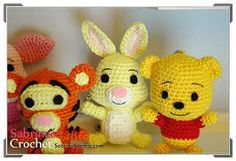 Sabrina Somers made crochet patterns for Pooh Bear and his friends. Pooh Bear Rabbit Piglet Tigger and Eeyore These patterns are available in English, Dutch and Spanish. Check out the other Pooh Bear
