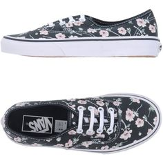 Vans Low-tops & Sneakers (400 DKK) ❤ liked on Polyvore featuring shoes, sneakers, steel grey, floral flat shoes, vans sneakers, low top, flat sneakers and round toe flat shoes
