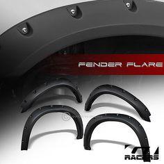 MATTE-BLACK-POCKET-BOLT-STYLE-FENDER-FLARES-KIT-WHEEL-COVER-2009-DODGE-RAM-1500