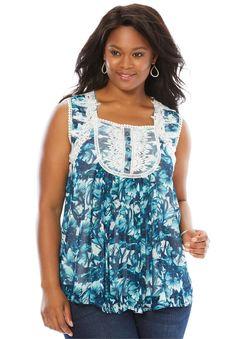 3677947436baf Fashion Bug Women s Plus Size Sleeveless Chiffon Top - Vibrant Turquoise  Print