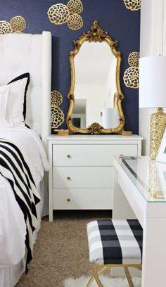 Black Gold Bedroom Black, White and Gold Bedroom Decor Navy Gold Bedroom, White Bedroom, Navy Walls, White Bedding, Modern Bedroom, Teen Bedroom, Renters Solutions, Bedroom Furniture, Bedroom Decor