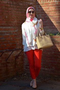 Blouse: The Limited  | Pants: Banana Republic  | Scarf: Haute Hijab…