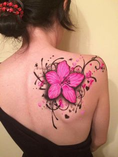 Awesome - New Site Pink Flower Tattoos, Beautiful Flower Tattoos, Flower Tattoo Designs, Pretty Tattoos, Lily Tattoo Design, Butterfly Tattoos, Bild Tattoos, Dope Tattoos, Body Art Tattoos
