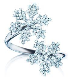 White gold with diamond snowflakes ring. LOVE!