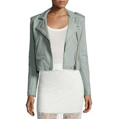 IRO Ashville Cropped Leather Jacket (23,220 MXN) ❤ liked on Polyvore featuring women's fashion, outerwear, jackets, light grey, asymmetrical zip leather jacket, long sleeve jacket, real leather jacket, asymmetrical zip jacket and long sleeve crop jacket