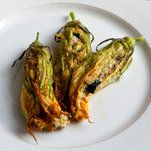 What to do with all those zucchini flowers?  Stuff with the flavors of Provence.
