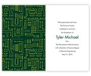 A circuit board graces this graduation invitation. Perfect for a degree in electrical engineering!