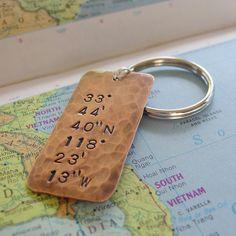 Latitude Longitude Keychain, Hand Stamped, GPS Location, Copper ...