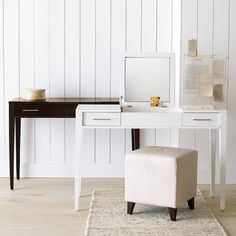Flip-top vanity for storing makeup products...a place to get ready w/o fighting for bathroom space!
