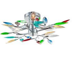 Praktiker webshop - online barkácsáruház - DL CHROM MENNYEZETI LÁMPA 3*E14 40W AKRIL/KRÓM 45*14CM SZÍNES