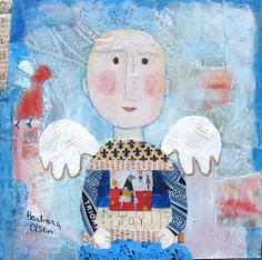 Angel of Joy © Barbara Olsen Mixed media,on canvas 12x12 showing at Anne Irwin Gallery , Buckhead Ga