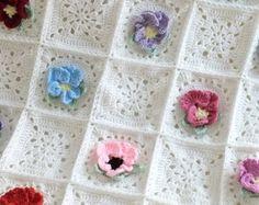 Crochet Rosebud Afghan Rose Afghan/Throw by brendacurrie on Etsy