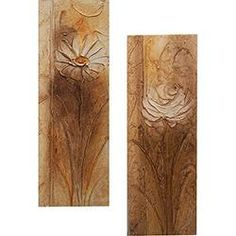 Quadro Par Rosa/Margarida Artesanal (60x20x6cm) Uniart