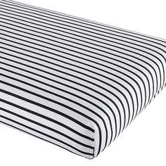 Noir Stripe Crib Sheet | The Land of Nod black and white stripes