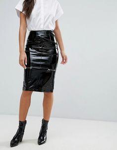 Missguided | Missguided – Midi-Bleistiftkleid aus Vinyl mit Reißverschluss Pvc Skirt, Satin Skirt, Vinyl Skirting, Vinyl Dress, Vinyl Clothing, Pvc Coat, Missguided, Fashion Online, What To Wear