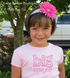 Big Sister  Big Sis  Short Sleeved Tshirt by oceanbreezeboutique, $22.50