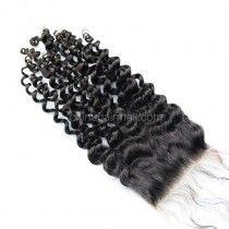 Peruvian Virgin Human Hair 4*4 Popular Lace Closure Brazilian Curly Natural Hair Line and Baby Hair [PVBRCTC]