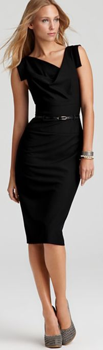 Black Halo Dress – Jackie O Belted Sheath in Stretch Gabardine. Flatters all body types.