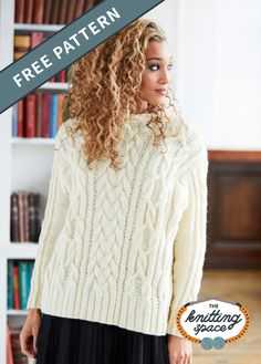 Easily look super chic and feel extra cozy with this Oversized Aran Knitted Pullover, a gorgeous piece that features the most stunning cable patterns you will ever encounter. It's wooly, toasty, and wonderfully trendy, perfect for fall and winter. Ideal for advanced level knitters to work on. | Discover over 5,500 free knitting patterns at theknittingspace.com Cable Knitting, Free Knitting, Winter Knitting Patterns, Knitting Projects, Knitting Ideas, Lion Brand Yarn, Knitted Poncho, Free Pattern, Knit Crochet