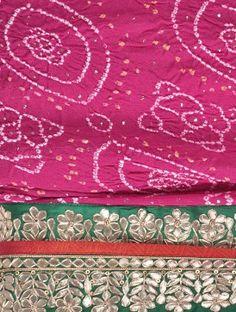 Crimson Pink Gota Patti, Mukaish & Zari Georgette Bandhani Saree