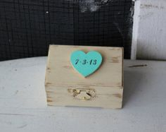 personalize antique white wedding ring bearer box . wedding heart keepsake box . antique white wooden wedding box . antique ring bearer box