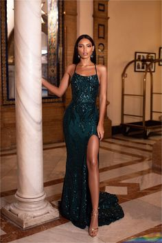 Zerlina Sequin Gown - Emerald Emerald Prom/Formal Dress - A&N Luxe African Prom Dresses, Senior Prom Dresses, Royal Blue Prom Dresses, Pretty Prom Dresses, Prom Outfits, Hoco Dresses, Gala Dresses, Dance Dresses, Evening Dresses