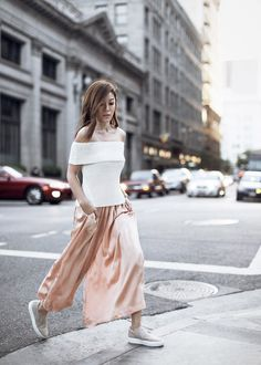 Skirt: tsangtastic, blogger, off the shoulder top, off the shoulder, date outfit, culottes, pink pants, silk, slip on shoes - Wheretoget