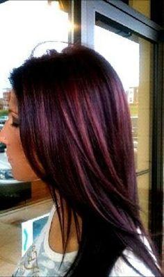 Deep black cherry hair color. Would