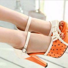 Orange & Cream Poka Dots High Heels Pump