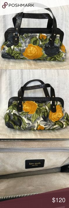 ♠️Kate Spade small satchel handbag! ♠️ Kate Spade small satchel handbag very lightly used!  Black leather trim with gold and black roses!  Very cute!  Will include original duster! kate spade Bags Satchels